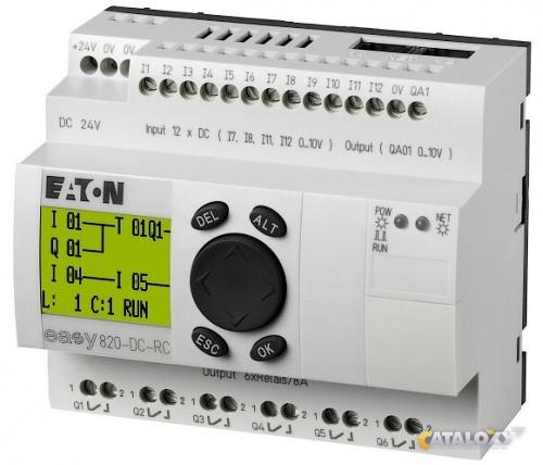 Программируемое реле easy819-ac-rc с дисплеем и кнопками имеет 12 дискретных входов и 6 релейных выходов 10 а
